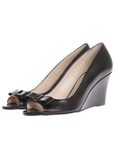 Cotton Bar Dolgu Topuk Tokalı Düz Kadın Ayakkabı Siyah
